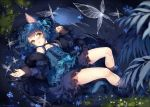 1boy afloat ahoge animal_ears bangs bare_legs bare_shoulders black_hair blue_dress blue_hair blush bow bug butterfly buttons cat_ears cat_tail choker collarbone commission dress feet_out_of_frame floating floating_object flower frilled_dress frills fur_trim green_eyes hair_bow hair_ornament hieihirai insect long_sleeves looking_at_viewer lying moon moonlight night on_back open_mouth otoko_no_ko outdoors partially_submerged plant reflecting_pool reflection ryoune_yami short_hair tail utau water