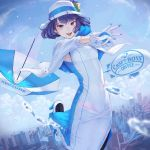 1girl aircraft armpit_peek bangs blimp blue_eyes blue_gloves blue_hair boss_coffee breasts capelet city commentary dirigible dress flower gloves hat hat_flower logo long_sleeves looking_at_viewer outdoors short_hair smile solo suntory suntory_nomu umbrella virtual_youtuber water white_dress white_gloves white_headwear yasukura_(shibu11)