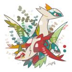 artist_name auko claws dragon full_body gen_3_pokemon latias latios looking_at_viewer no_humans poke_ball_symbol pokemon red_eyes signature simple_background smile star star-shaped_pupils symbol-shaped_pupils white_background yellow_eyes