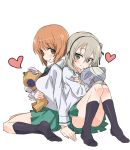 2girls alternate_costume bandages bangs black_legwear black_neckwear black_ribbon blouse blush boko_(girls_und_panzer) brown_eyes brown_hair eyebrows_visible_through_hair from_side girls_und_panzer green_skirt hair_ribbon head_tilt heart hibimegane holding holding_stuffed_animal legs light_brown_hair long_hair long_sleeves looking_at_viewer looking_back miniskirt multiple_girls neckerchief nishizumi_miho no_shoes one_side_up ooarai_school_uniform panties pantyshot pantyshot_(sitting) pleated_skirt ribbon school_uniform serafuku shimada_arisu short_hair sitting skirt socks stuffed_animal stuffed_toy teddy_bear underwear wariza white_blouse white_panties