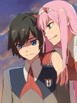 +++ 1boy 1girl arm_over_shoulder bangs black_hair blue_eyes chiharu_(9654784) clouds cloudy_sky commentary_request couple darling_in_the_franxx evening green_eyes hair_ornament hairband hetero highres hiro_(darling_in_the_franxx) horns lipstick long_hair long_sleeves looking_at_another makeup military military_uniform necktie oni_horns orange_neckwear pink_hair red_horns red_neckwear sky sweatdrop tongue tongue_out uniform white_hairband zero_two_(darling_in_the_franxx)