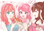 ! !! 3girls :d ^_^ bang_dream! bangs bare_shoulders blue_shirt brown_hair cellphone closed_eyes cup diagonal-striped_background diagonal_stripes eating floral_print food food_on_face food_request green_eyes half_updo hana_kon_(17aaammm) highres holding holding_cup holding_phone imai_lisa long_hair low_twintails maruyama_aya multiple_girls musical_note nail_polish off-shoulder_shirt off_shoulder open_mouth phone pink_eyes pink_hair pink_nails pink_shirt print_shirt red_nails shirt smartphone smile spoken_exclamation_mark spoken_musical_note striped striped_background striped_shirt twintails uehara_himari upper_body vertical-striped_shirt vertical_stripes yellow_shirt