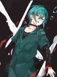 1other abstract_background androgynous bad_id bad_twitter_id blush green_hair highres jewelry jumpsuit konbu_wakame neck_ring nijisanji ryuushen short_hair solo violet_eyes virtual_youtuber water_drop