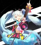 1girl ;d arm_up bare_shoulders black_background black_sleeves blue_skirt blush commentary detached_sleeves frilled_skirt frills green_eyes green_hair hair_ornament hair_ribbon hatsune_miku head_tilt highres holding index_finger_raised long_hair long_sleeves magical_mirai_(vocaloid) megaphone one_eye_closed open_mouth outstretched_arm ribbon round_teeth shirt skirt sleeveless sleeveless_shirt sleeves_past_wrists smile solo taka_(0taka) teeth twintails upper_teeth very_long_hair vocaloid white_ribbon white_shirt