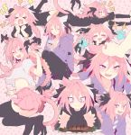 >_< 1boy ;d =_= animal_ears arm_warmers astolfo_(fate) bendy_straw black_footwear black_legwear black_ribbon black_skirt black_sweater blush carton cat_ears cat_tail closed_eyes closed_mouth dress drinking_straw eyebrows_visible_through_hair fang fate/apocrypha fate/grand_order fate_(series) fish food hair_between_eyes hair_ribbon hand_to_own_mouth hands_up happy heart highres holding holding_carton holding_food hood hoodie lightning_bolt loafers long_braid long_hair long_sleeves looking_at_viewer lying milk_carton multicolored_hair multiple_views neckerchief notice_lines on_stomach one_eye_closed open_mouth otoko_no_ko out_of_frame pantyhose paw_background petting pink_background pink_hair pink_neckwear pink_skirt pink_tail pink_theme plate pleated_skirt profile puffy_short_sleeves puffy_sleeves purple_hoodie purple_shirt ribbon school_uniform serafuku shirt shoes short_sleeves sitting skin_fang skirt sleeves_past_wrists slit_pupils smile sparkle srinitybeast streaked_hair striped striped_shirt sweater sweater_dress tail tail_ribbon thigh-highs unhappy v-shaped_eyebrows very_long_hair violet_eyes white_hair white_shirt