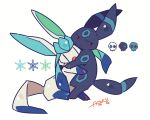 alternate_color annoyed artist_name auko blue_eyes commentary_request fang full_body gen_2_pokemon gen_4_pokemon glaceon half-closed_eyes hug looking_to_the_side no_humans open_mouth poke_ball_symbol pokemon pokemon_(creature) red_eyes shiny_pokemon signature simple_background skull snowflakes umbreon white_background