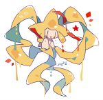 alternate_color artist_name auko crying full_body gen_3_pokemon jirachi no_humans open_mouth poke_ball_symbol pokemon pokemon_(creature) red_eyes shiny_pokemon signature simple_background tears white_background