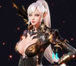 1girl 3d aion armor breasts cleavage_cutout medium_breasts pointy_ears solo upper_body white_hair