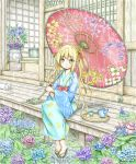1girl architecture blonde_hair cat commentary_request cup east_asian_architecture expressionless eyebrows_visible_through_hair fennel_(flower_knight_girl) floral_print flower flower_knight_girl fusuma green_eyes highres holding hydrangea japanese_clothes kimono leaf long_hair looking_at_viewer obi oriental_umbrella plant potted_plant rain sandals sash sitting sliding_doors solo teacup teapot thick_eyebrows tray twintails umbrella veranda very_long_hair ys_(ytoskyoku-57) yukata