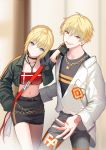 1boy 1girl :d ahoge alternate_costume artoria_pendragon_(all) bandeau bangs belt black_choker black_jacket black_shirt black_skirt blonde_hair breasts casual chain choker cropped_jacket fate/grand_order fate/stay_night fate_(series) gilgamesh grey_pants hair_between_eyes head_tilt jacket jewelry lloule lock long_sleeves looking_at_viewer midriff navel necklace open_clothes open_jacket open_mouth padlock pants pencil_skirt red_eyes saber shirt short_hair skirt small_breasts smile standing v-shaped_eyebrows violet_eyes white_jacket wing_collar