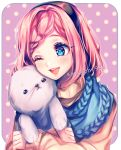 1girl ;d blue_eyes blue_scarf blush braid brown_sweater close-up commission hair_ornament hairband highres hug one_eye_closed open_mouth original pink_hair sasucchi95 scarf seal short_hair smile sweater upper_body