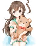1girl ahoge bangs blush bow brown_eyes brown_hair eyebrows_visible_through_hair holding holding_stuffed_animal huge_ahoge kantai_collection kuma_(kantai_collection) long_hair red_bow sailor_collar school_uniform serafuku shorts smile solo stuffed_animal stuffed_toy teddy_bear white_background yuuki_susumu