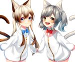 2girls :3 :d animal_ear_fluff animal_ears bangs blue_bow blue_eyes blue_sailor_collar blush bow bowtie brown_eyes brown_hair cat_ears cat_girl cat_tail closed_mouth collared_shirt commentary_request cowboy_shot dress_shirt eyebrows_visible_through_hair grey_hair hair_between_eyes highres jacket leaning_forward light_brown_hair long_hair long_sleeves looking_at_viewer multicolored_hair multiple_girls open_mouth original pink_sailor_collar puffy_long_sleeves puffy_sleeves red_neckwear round_teeth rukinya_(nyanko_mogumogu) sailor_collar shadow shirt sleeves_past_wrists smile standing tail tail_raised teeth twintails two-tone_hair upper_teeth very_long_hair white_background white_jacket white_shirt