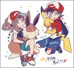 1boy 1girl :3 artist_name auko ayumi_(pokemon) backpack bag baseball_cap black_footwear black_shirt blue_eyes blue_shorts blush_stickers border brown_eyes brown_hair commentary_request eevee full_body gen_1_pokemon green_shorts happy hat holding holding_pokemon kakeru_(pokemon) looking_at_another looking_at_viewer open_mouth paw_print pikachu poke_ball_symbol poke_ball_theme pokemon pokemon_(creature) pokemon_(game) pokemon_lgpe ponytail purple_border red_eyes red_footwear red_headwear red_shirt shirt shoes short_hair short_shorts short_sleeves shorts signature simple_background smile teeth tied_hair white_background