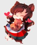 1girl absurdres animal_ears brown_hair chibi closed_eyes dress dungeon_toaster eating fang food full_body heart highres huge_filesize imaizumi_kagerou long_hair long_sleeves meat off_shoulder paws saliva self_upload simple_background solo steak tail touhou wolf_ears wolf_tail