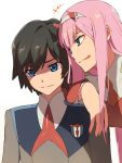 +++ 1boy 1girl arm_over_shoulder bangs black_hair blue_eyes chiharu_(9654784) commentary_request couple darling_in_the_franxx green_eyes hair_ornament hairband hetero highres hiro_(darling_in_the_franxx) horns lipstick long_hair long_sleeves looking_at_another makeup military military_uniform necktie oni_horns orange_neckwear pink_hair red_horns red_neckwear sweatdrop tongue tongue_out uniform white_hairband zero_two_(darling_in_the_franxx)