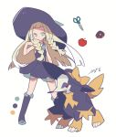 1girl alternate_color apple artist_name auko bare_shoulders black_dress black_headwear black_legwear blonde_hair blue_footwear bow braid clothed_pokemon doughnut dress flat_chest food fruit full_body furfrou gen_6_pokemon half-closed_eyes hand_up hat hat_bow kneehighs legs_apart lillie_(pokemon) long_hair looking_to_the_side open_mouth poke_ball_symbol pokemon pokemon_(creature) pokemon_(game) pokemon_sm red_eyes scissors see-through shiny_pokemon shoes side_braid signature sleeveless sleeveless_dress standing sun_hat tied_hair twin_braids yellow_bow