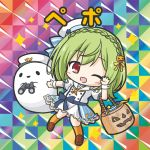 1girl ;d bikkuriman_(style) binoculars blue_bow blush bow braid brown_footwear character_name chibi crown_braid dress flower_knight_girl full_body ghost green_hair hair_ornament halloween_basket hand_up hat holding holding_binoculars jack-o'-lantern jack-o'-lantern_hair_ornament kneehighs loafers long_hair one_eye_closed open_mouth orange_legwear parody peaked_cap pepo_(flower_knight_girl) puffy_short_sleeves puffy_sleeves red_eyes rinechun sailor_collar sailor_dress sailor_hat shoes short_sleeves smile solo sparkle tilted_headwear white_dress white_headwear white_sailor_collar wrist_cuffs