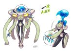 1girl alien bodysuit galaxy gloves glowing glowing_eyes helmet original pilot_suit ryuusei_(mark_ii) simple_background smile solo spacesuit star turtleneck waving white_background