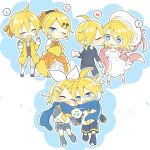 3boys 3girls ^_^ anger_vein annoyed blush brother_and_sister cheek_kiss chibi closed_eyes dress evillious_nendaiki frilled_dress frills happy_tears hat hat_removed hat_ribbon headwear_removed incest kagamine_len kagamine_rin kiss multiple_boys multiple_girls multiple_persona paper_airplane ribbon scarf shared_scarf shared_speech_bubble shuujin/kami_hikouki_(vocaloid) siblings songover speech_bubble surprised sweatdrop tears tsundere twincest twins vocaloid