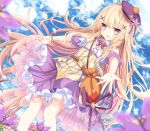 1girl aruka_(alka_p1) bag bangs beret blonde_hair blue_sky blurry blurry_foreground brown_eyes clouds cloudy_sky collar commentary_request day depth_of_field detached_collar detached_sleeves dutch_angle eyebrows_visible_through_hair field flower flower_field flower_knight_girl hair_between_eyes hair_ornament hat highres kuko_(flower_knight_girl) long_hair outdoors pleated_skirt puffy_short_sleeves puffy_sleeves purple_flower purple_headwear purple_skirt red_flower see-through short_sleeves shoulder_bag skirt sky solo standing tilted_headwear very_long_hair white_collar white_sleeves x_hair_ornament