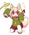 1girl animal_ears arm_up bangs bell bell_collar blonde_hair blush brown_collar brown_footwear cattail collar eyebrows_visible_through_hair fox_ears fox_girl fox_tail full_body green_shirt hair_between_eyes hair_bun hair_ornament hand_up highres jingle_bell kemomimi-chan_(naga_u) long_hair long_sleeves looking_away looking_up naga_u notice_lines one_knee orange_neckwear original parted_lips plant pleated_skirt purple_skirt red_eyes ribbon-trimmed_sleeves ribbon_trim sailor_collar shirt sidelocks skirt sleeves_past_fingers sleeves_past_wrists solo tail thigh-highs v-shaped_eyebrows white_legwear white_sailor_collar