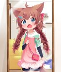 1girl :o ahoge animal_ears bag blue_eyes blush braid brown_hair commentary_request cowboy_shot eyebrows_visible_through_hair fangs hair_ornament hairclip highres holding_strap indoors long_hair long_sleeves looking_at_viewer makuran mirror momiji_(makuran) open_mouth original reflection short_over_long_sleeves short_sleeves shorts shoulder_bag solo sparkling_eyes strap_slip tail thick_eyebrows twin_braids