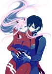 1boy 1girl bangs black_bodysuit black_hair blue_eyes bodysuit breasts commentary couple darling_in_the_franxx floating_hair gloves green_eyes hair_ornament hairband hand_on_another's_stomach hetero highres hiro_(darling_in_the_franxx) holding_hands horns hug hug_from_behind interlocked_fingers long_hair looking_at_another medium_breasts oni_horns oroneko pilot_suit pink_hair red_bodysuit red_eyes red_horns white_gloves white_hairband zero_two_(darling_in_the_franxx)