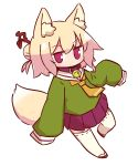 1girl animal_ear_fluff animal_ears bangs bell bell_collar blonde_hair blush brown_collar brown_footwear closed_mouth collar eyebrows_visible_through_hair fox_ears fox_girl fox_tail full_body green_shirt hair_between_eyes hair_bun hair_ornament highres jingle_bell kemomimi-chan_(naga_u) long_hair long_sleeves naga_u orange_neckwear original pleated_skirt purple_skirt red_eyes ribbon-trimmed_sleeves ribbon_trim sailor_collar shirt sidelocks simple_background skirt sleeves_past_fingers sleeves_past_wrists solo tail thigh-highs white_background white_legwear white_sailor_collar