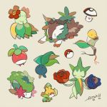 :3 artist_name auko beige_background bellossom bellsprout black_eyes blue_eyes blue_flower blue_rose bounsweet closed_eyes flower full_body gen_1_pokemon gen_2_pokemon gen_3_pokemon gen_4_pokemon gen_5_pokemon gen_6_pokemon gen_7_pokemon goat no_humans oddish poke_ball poke_ball_(generic) poke_ball_symbol pokemon pokemon_(creature) red_eyes red_flower red_rose rose roselia sewaddle shaymin signature simple_background skiddo smile yellow_eyes