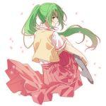 1girl amazuki_jou green_eyes green_hair higurashi_no_naku_koro_ni long_hair long_skirt looking_back no_shoes petals pleated_skirt ponytail skirt socks sonozaki_mion