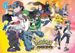 baseball_cap black_hair black_pants blonde_hair blue_eyes blue_hair brown_eyes brown_hair cape carnet_(pokemon) double_bun dragonite female_trainer_(pokemon_masters) garchomp gardevoir hair_over_one_eye hand_on_headwear hat jacket long_hair male_trainer_(pokemon_masters) mega_charizard_x mei_(pokemon) metagross official_art onix outstretched_hand pants pikachu pokemon pokemon_(game) pokemon_masters red_(pokemon) red_jacket red_neckwear redhead rotom rotom_dex shirona_(pokemon) shirt takeshi_(pokemon) tsuwabuki_daigo twintails wataru_(pokemon) white_shirt