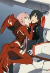 1boy 1girl ass bad_id bad_yandere_id bangs black_bodysuit black_hair blue_eyes bodysuit breasts copyright_name couple darling_in_the_franxx gloves green_eyes hair_ornament hairband hand_on_another's_chin hand_on_another's_neck hand_on_own_leg hetero highres hiro_(darling_in_the_franxx) horns leg_up long_hair looking_at_viewer medium_breasts official_art oni_horns pilot_suit pink_hair red_bodysuit red_gloves red_horns scan sitting sweatdrop tanaka_masayoshi white_gloves white_hairband zero_two_(darling_in_the_franxx)