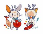 :3 artist_name auko blue_eyes blue_neckwear bow bowtie bruise cat food fork full_body green_eyes heart heterochromia holding injury knife multicolored_neckwear no_humans orange_eyes original poke_ball_symbol red_eyes sausage signature simple_background sitting smile spoon standing tempura tomato white_background