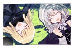 2girls blonde_hair clenched_hand closed_eyes fate_(series) fur_collar gray_(lord_el-melloi_ii) grey_hair happy hat hat_removed headwear_removed hood laughing long_hair lord_el-melloi_ii_case_files lying multiple_girls on_back on_grass reines_el-melloi_archisorte