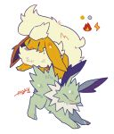 :3 alternate_color artist_name auko blue_eyes closed_eyes fang flareon full_body gen_1_pokemon jolteon no_humans open_mouth poke_ball_symbol pokemon pokemon_(creature) shiny_pokemon signature simple_background smile white_background