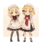 2girls apron blonde_hair blue_eyes bow bowtie braid commentary_request eyebrows_visible_through_hair g36_(girls_frontline) g36c_(girls_frontline) girls_frontline glasses gloves holding_hands maid maid_apron maid_headdress multiple_girls pantyhose shoes shuzi siblings sisters socks white_background younger