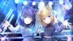 2girls :o ;q animal_ear_fluff animal_ears black_shirt black_skirt blonde_hair blue_eyes blue_hair blurry blurry_background blush cat_ears closed_mouth collared_shirt commentary_request depth_of_field dress_shirt epaulettes fang fingernails hand_up hands_together head_tilt highres multiple_girls nail_polish one_eye_closed parted_lips pleated_skirt purple_nails rukiroki saeki_sora sasugano_roki sasugano_ruki shirt skirt smile tongue tongue_out twitter_username upper_body white_shirt white_skirt yellow_nails