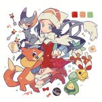 :3 artist_name auko beanie blue_eyes blue_hair blush_stickers boots bow bowtie budew buizel cat chingling coat creatures_(company) cup dusk_ball flower fork full_body game_freak gen_1_pokemon gen_2_pokemon gen_4_pokemon glameow half-closed_eye happy hat heterochromia kneehighs long_hair long_sleeves looking_to_the_side mug nintendo one_eye_closed open_mouth pachirisu pikachu pink_footwear poke_ball poke_ball_symbol poke_ball_theme pokemon pokemon_(creature) pokemon_(game) pokemon_dppt pokemon_platinum red_coat red_eyes scarf signature simple_background smile spoon white_background white_headwear white_legwear white_scarf yellow_eyes