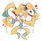 :3 alternate_color artist_name auko blue_eyes commentary_request dated full_body gen_3_pokemon jirachi no_humans open_mouth poke_ball_symbol pokemon pokemon_(creature) red_eyes shiny_pokemon signature simple_background smile star white_background