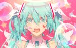 1girl :d angel_wings bare_shoulders blue_eyes blue_hair blue_neckwear bubble close-up eighth_note electric_angel_(vocaloid) eyelashes face facepaint feathers frills hair_between_eyes happy hatsune_miku headset heart looking_at_viewer musical_note necktie open_mouth pink_background round_teeth saihate_(d3) shirt simple_background sleeveless sleeveless_shirt smile solo sparkle sparkle_background star starry_background teeth twintails upper_body upper_teeth vocaloid white_shirt wings