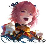 1boy armor astolfo_(fate) black_bow black_ribbon blush bow commentary eyebrows_visible_through_hair fang fate/apocrypha fate_(series) hair_intakes hair_ribbon half-closed_eyes highres imizu_(nitro_unknown) looking_at_viewer male_focus multicolored_hair open_mouth otoko_no_ko pauldrons pink_hair ribbon simple_background smile solo streaked_hair teeth upper_body violet_eyes white_background