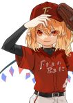 1girl 4 adjusting_clothes adjusting_hat alternate_costume alternate_headwear arms_up bangs baseball_cap baseball_jersey baseball_mitt baseball_uniform black_shirt blonde_hair clothes_writing commentary_request crystal eyebrows_visible_through_hair fang flandre_scarlet gotoh510 hair_between_eyes hat highres long_sleeves looking_at_viewer number one_side_up pants parted_lips pointy_ears red_eyes red_shirt shirt short_hair simple_background smile solo sportswear touhou upper_body v-shaped_eyebrows white_background white_pants wings