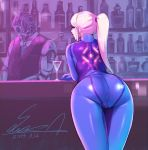 1girl alcohol android artist_name ass bar bartender blonde_hair blue_bodysuit blue_eyes bodysuit bottle cherry cocktail_glass commentary_request counter cup dated drinking_glass food fruit high_ponytail highres leaning_on_object long_hair looking_at_viewer looking_back metroid ponytail samus_aran sawasa signature skin_tight zero_suit