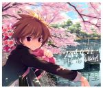 1girl against_railing bangs black_jacket blue_sky bouquet brown_hair cherry_blossoms commentary dappled_sunlight dated day eguchi_sera english_text eyebrows_visible_through_hair flower flower_request gakuran grin happy_birthday holding holding_bouquet jacket leaning_forward long_sleeves looking_at_viewer odawara_hakone open_mouth outdoors over_shoulder red_eyes saki saki_achiga-hen school_uniform short_hair sky smile solo standing sunlight tree