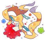 >_< :3 artist_name auko closed_eyes gen_3_pokemon happy heart jirachi no_humans open_mouth poke_ball_symbol pokemon pokemon_(creature) signature simple_background smile star white_background