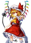 1girl ascot blonde_hair closed_mouth flandre_scarlet frilled_skirt frilled_sleeves frills gem hair_between_eyes hat hat_ribbon highres holding laevatein long_hair looking_at_viewer manarou mob_cap outstretched_arm puffy_short_sleeves puffy_sleeves red_eyes red_ribbon red_shirt red_skirt ribbon shirt short_sleeves side_ponytail simple_background skirt skirt_set smile socks solo standing touhou tsurime v-shaped_eyebrows white_background white_headwear white_legwear white_ribbon wind wings yellow_neckwear