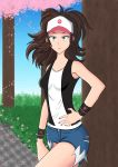 1girl absurdres baseball_cap black_vest blue_eyes blue_shorts brown_hair closed_mouth cropped_legs denim denim_shorts hand_on_hip hat highres leg_lift lips long_hair nail nail_polish pink_headwear pink_nails poke_ball poke_ball_(generic) poke_ball_symbol pokemon pokemon_(game) pokemon_bw self_upload serlex shirt short_shorts short_sleeves shorts simple_background smile solo standing touko_(pokemon) vest white_shirt wrist_cuffs