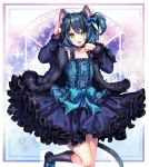 1boy :d animal_ears bangs bare_shoulders blue_dress blue_hair bow buttons cat_ears cat_tail choker commission dress fang feet_out_of_frame frilled_dress frills fur_trim green_eyes hair_between_eyes hair_bow highres kneehighs long_sleeves looking_at_viewer open_mouth otoko_no_ko paw_pose ryoune_yami sasucchi95 short_hair side_ponytail smile socks solo tail utau