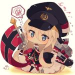1girl azur_lane bangs beige_background bismarck_(azur_lane) black_dress black_footwear black_headwear black_jacket black_legwear blue_eyes blush boots chibi closed_mouth commentary_request dress eyebrows_visible_through_hair flag flat_cap full_body fur-trimmed_boots fur_trim hair_between_eyes hat highres holding jacket light_brown_hair long_hair long_sleeves looking_at_viewer machinery muuran simple_background sleeves_past_fingers sleeves_past_wrists solo spoken_squiggle squiggle sweatdrop thigh-highs thigh_boots translation_request very_long_hair